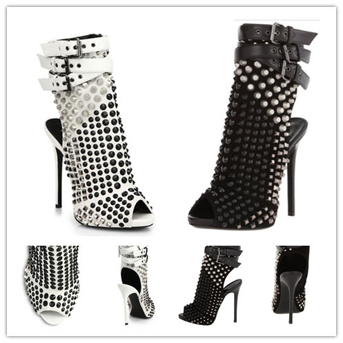 Drop Shipping Spring Autumn Boots Thin Heels Shoes Woman Gladiator Ankle Boots Rivets Motorcycle Boots Studded Designer Pumps(China (Mainland))