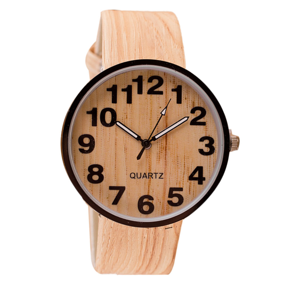 Гаджет  Vintage Wood Grain Watch Women Casual Pu Leather Quartz Watches Men Women