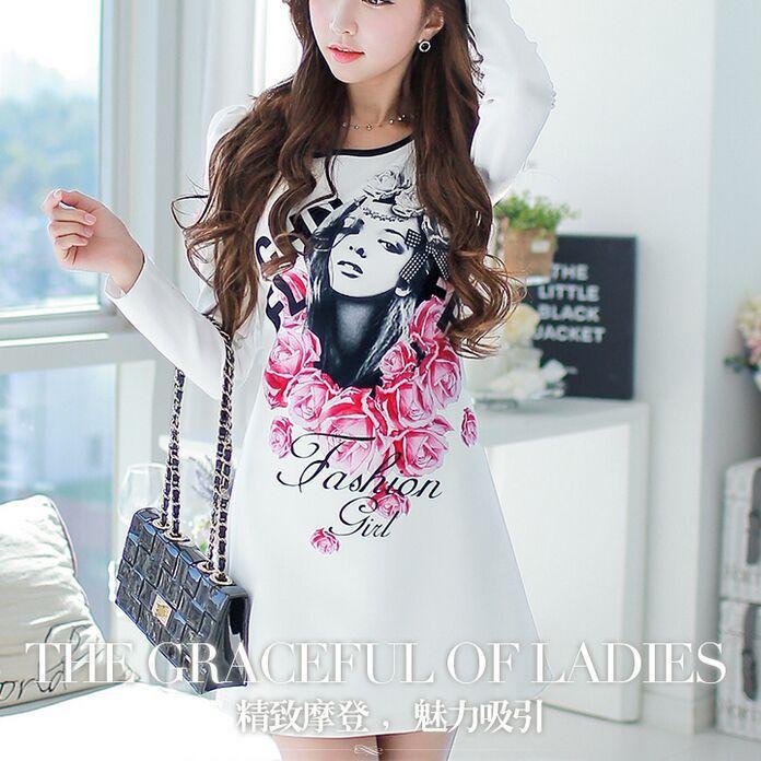 Winter Dress Pink Doll New backing long sleeved dress sweater dress