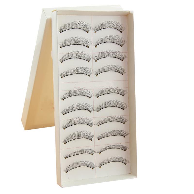 10 paires maquillage main faux faux cils Look naturel tige Transparent mode naturel faux cils vente chaude()