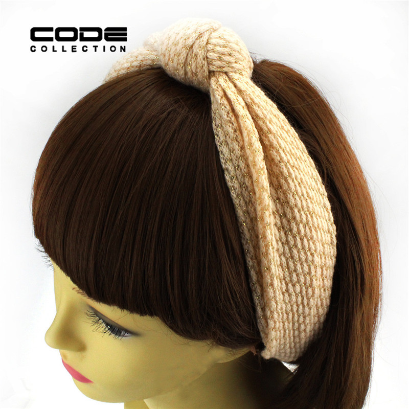 Korea Large Size Pink Headbands Trendy Hair Accessories for Women Hair Bands Knitting Wide Head Wraps Turban Stretchy Hair Jewe(China (Mainland))