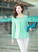 AliExpress |2014 moda de nueva caliente venta más el tamaño Casual manga larga de gasa blusa camisas para mujeres F4279