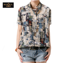 2015 Summer Style Europe and America New Short Sleeve Stand Collar Cotton&Linen Shirts Women Abstract Printed Blouses Tops(China (Mainland))
