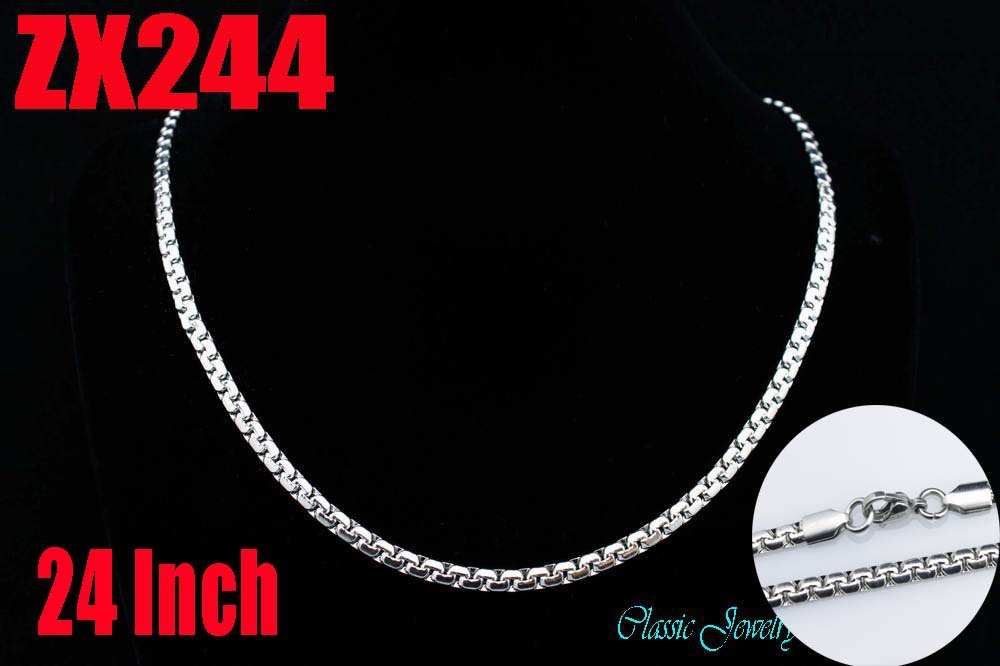 Wholesale - 24Inch 316L stainless steel 4mm flat box chain Jewelry man male necklace chains ZX244<br><br>Aliexpress
