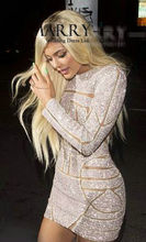 Kylie Jenner Sexy Mini Celebrity robes 2016 manches complet motif paillettes New court robes de bal Backless Sexy Party robes femme(China (Mainland))