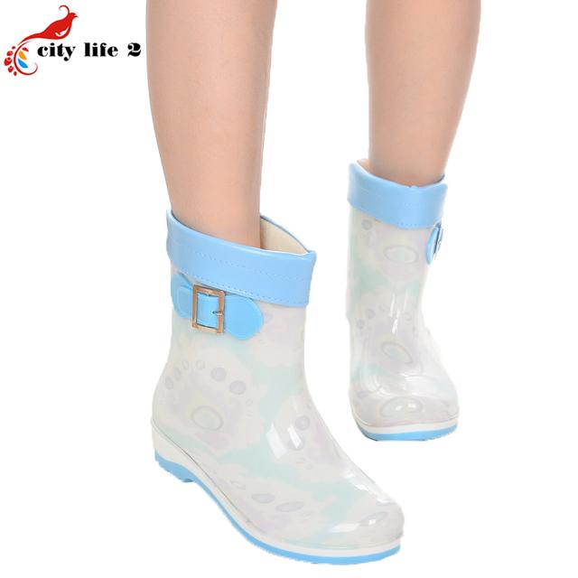Пряжка В Трубе Женщины Дождь Сапоги Новая Мода Женский Теплой Водой леди Обувь Плюс Размер 40 41 Противоскользящие Резиновые Галоши Botas Mujer