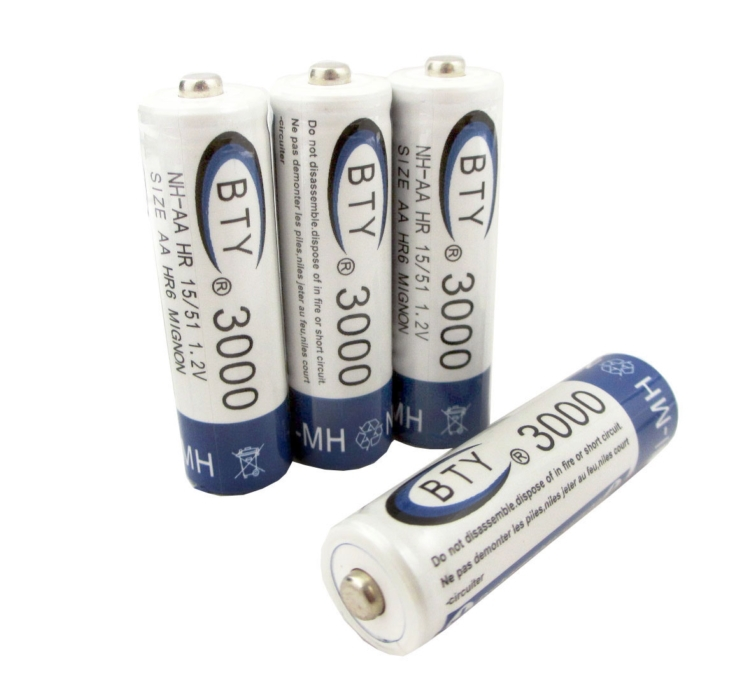 Rechargeable Battery AA 3000mAh 4 X BTY NI-MH 1.2V Rechargeable 2A Battery Baterias Bateria Batteries MicroData Best Quality(China (Mainland))