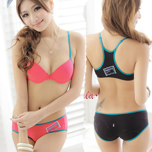 free shipping women's fashion bra set,sexy baboo fiber brassiere Front button with panties sets underwear Vest design(China (Mainland))