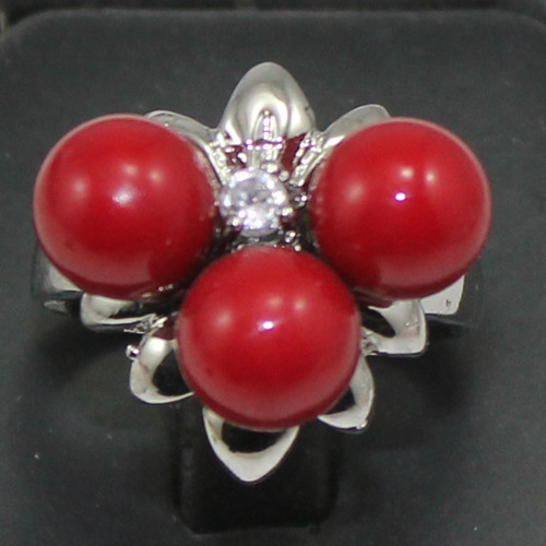 Roo105 nice 3 red shell pearl beads silver plated fashion Ring for laday(China (Mainland))
