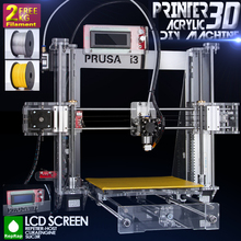 2014 Hot Full Acrylic Quality High Precision Reprap Prusa i3 LCD Acquired DIY 3d Printer Kit with 2 KG Filament for Free