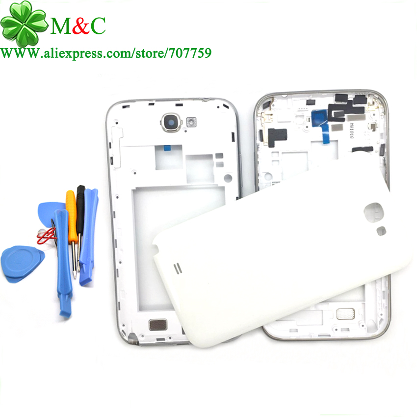 White Grey N7100 Full Housing Samsung Galaxy Note II 2 Middle Frame Battery Back Cover Case Logo Toos - M&C ELECTRONICS TRADE(HK store CO., LIMITED)