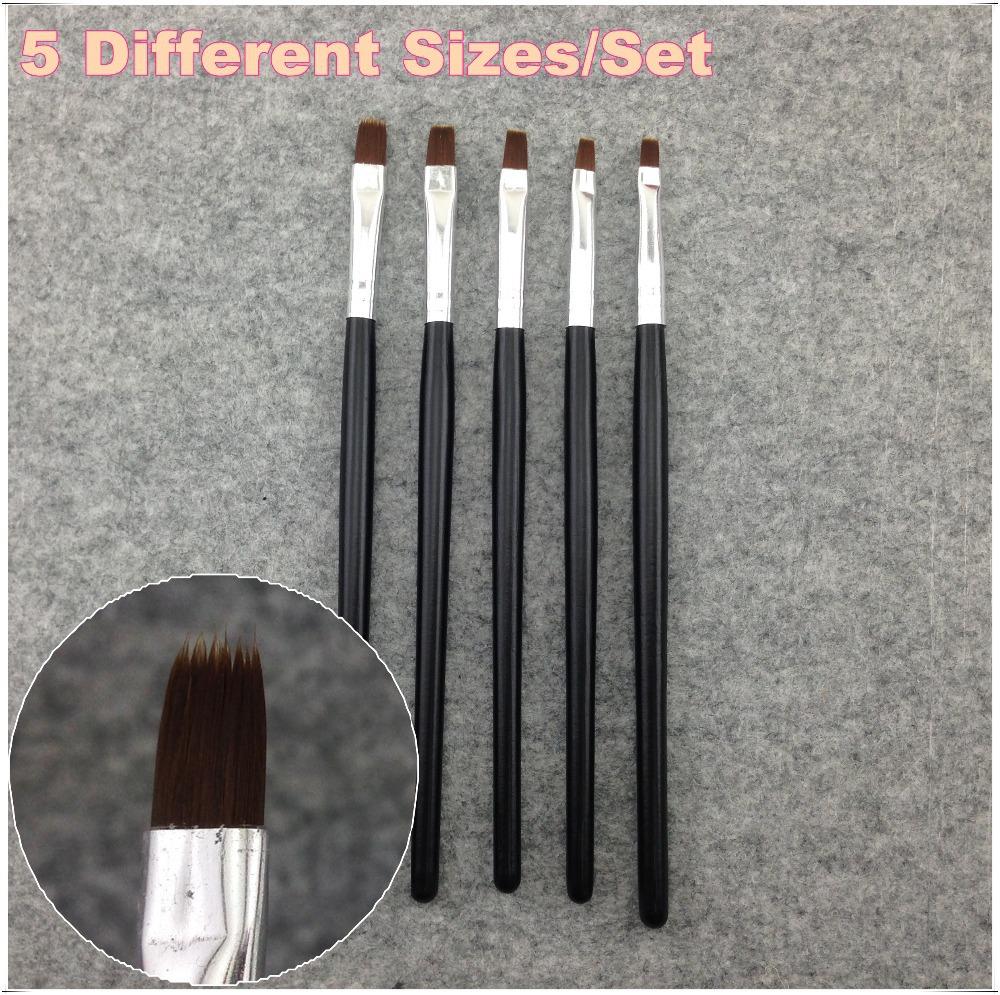 1 Set 5 Pcs Nail Art Acrylic UV Gel Salon Pen Flat Brush Kit Dotting Nail