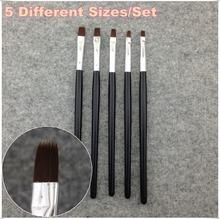 1 Set / 5 Pcs Nail Art Acrylic UV Gel Salon Pen Flat Brush Kit Dotting Nail Art Tool + Free Shipping (NR-WS18)
