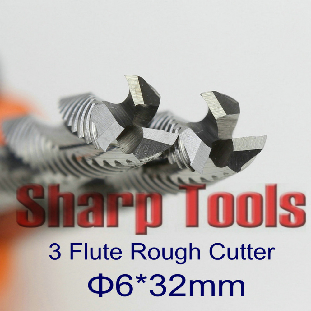 6*32mm 3 Flute End Mill Rough Cutter Solid Carbide Tools, 5pcs/set Router Bit Milling Cutters for CNC Aluminum Plywood MDF Cut(China (Mainland))