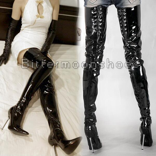 4-Free shipping hot sale Adult pointed toe sexy Queen Pole dancing shoes women thigh high boots over the knee zapatos mujer 12cm