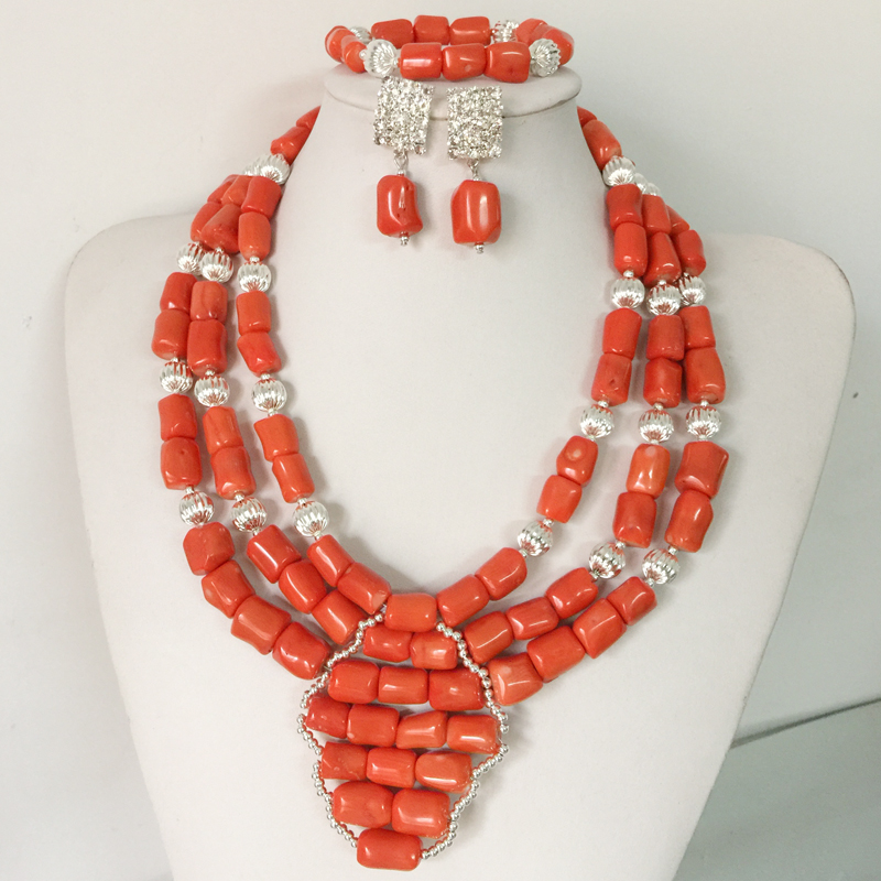 2016 Latest African Wedding Coral Beads Jewelry Set African Costume Jewelry Set Silver Plated Free Shipping SET8-2<br><br>Aliexpress