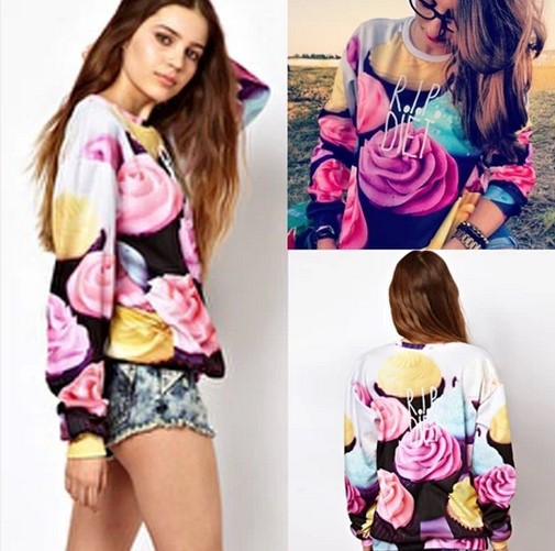 Hot Selling,,Occident Women Camouflage 3D Print Ice-Cream Pullovers,Floral Bottoming Hoodie Set,100% Best Quality - Cow's love store