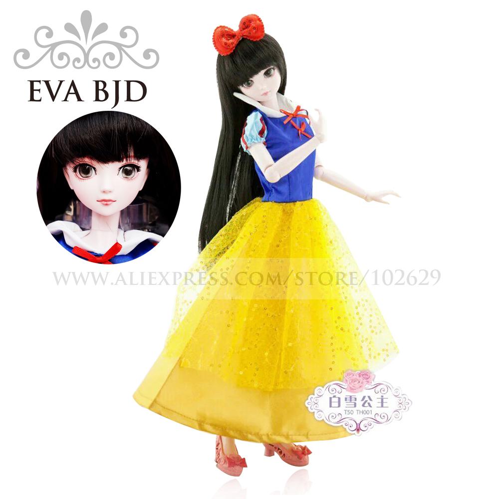 1/4 BJD Doll 45cm 18 jointed dolls Snow White doll White Skin ( Free Eyes + Hair + Makeup + Clothes + Shoes ) EVA BJD DA002-02(China (Mainland))