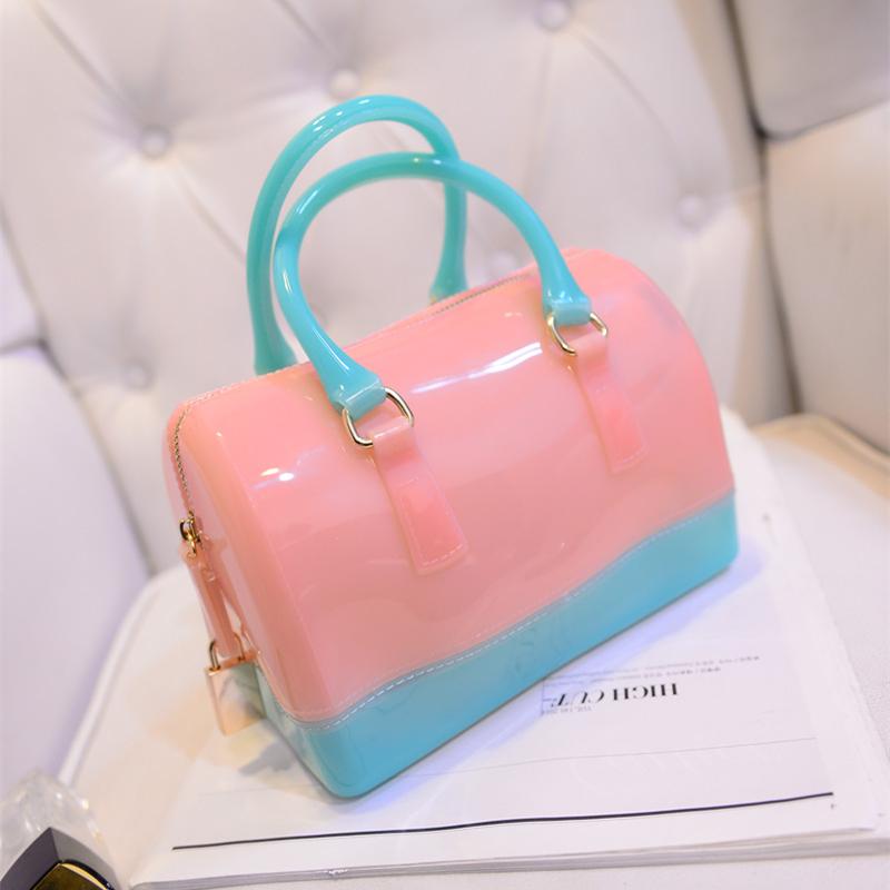 2015 jelly bag beach bag crystal bag bucket handbag transparent bag women's handbag one shoulder cross-body soft(China (Mainland))