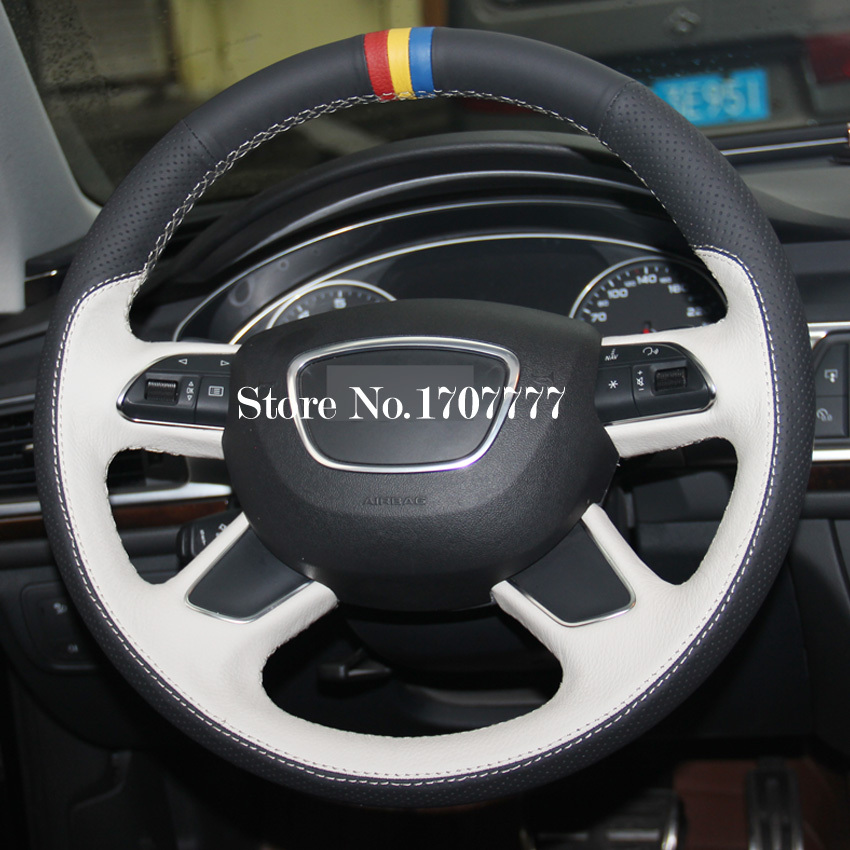 Black White Genuine Leather Hand-stitched Car Steering Wheel Cover Audi A3 A7 A8 Q7 - Betty Auto Accessories Store store