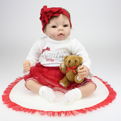 Lifelike Silicone Baby Reborn Doll Toy 22Inches 55CM Brand Best Gift For Kids Girl Soft Full Body Babies Newborn Dolls Toys(China (Mainland))