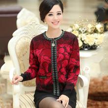 2014 Women Spring Autumn Print Flower Cashmere Sweater Coat  mother clothing Fashion Cardigan big size M- XXL(China (Mainland))