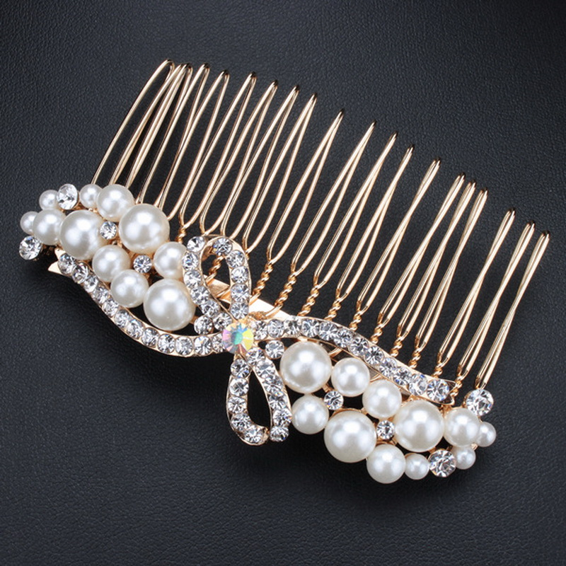 1 PCS Wedding Bridals Crystal Imitated Pearl Flower Butterfly Dragonfly Bow Hair Combs Hair Clips for women SF195(China (Mainland))