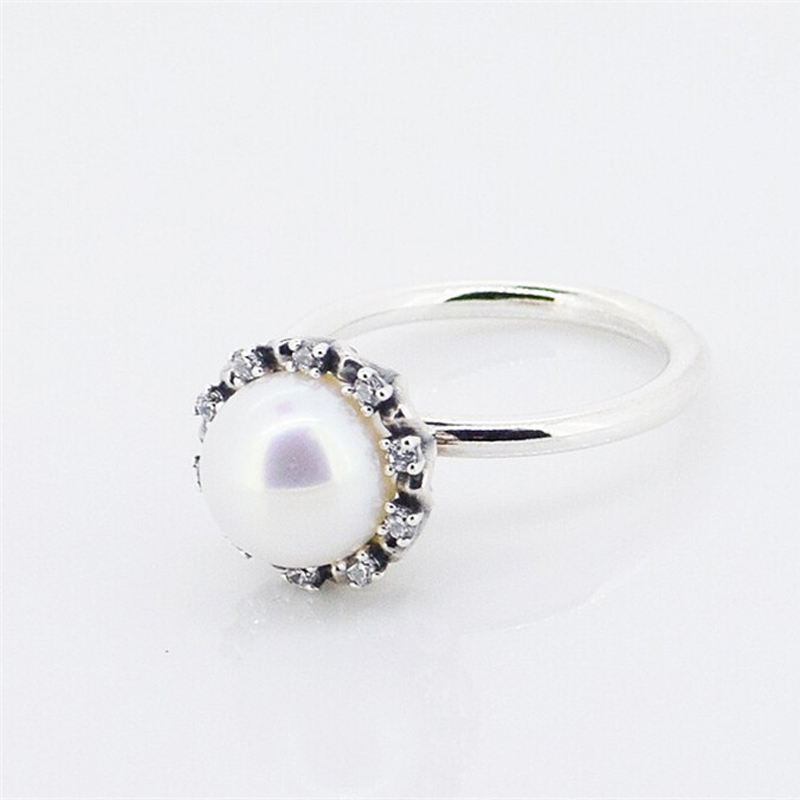 Silver Rings White Freshwater Cultured Pear 100% 925 Sterling Silver Jewelry Wedding Ring for Women Authentic Gift Wholesales(China (Mainland))