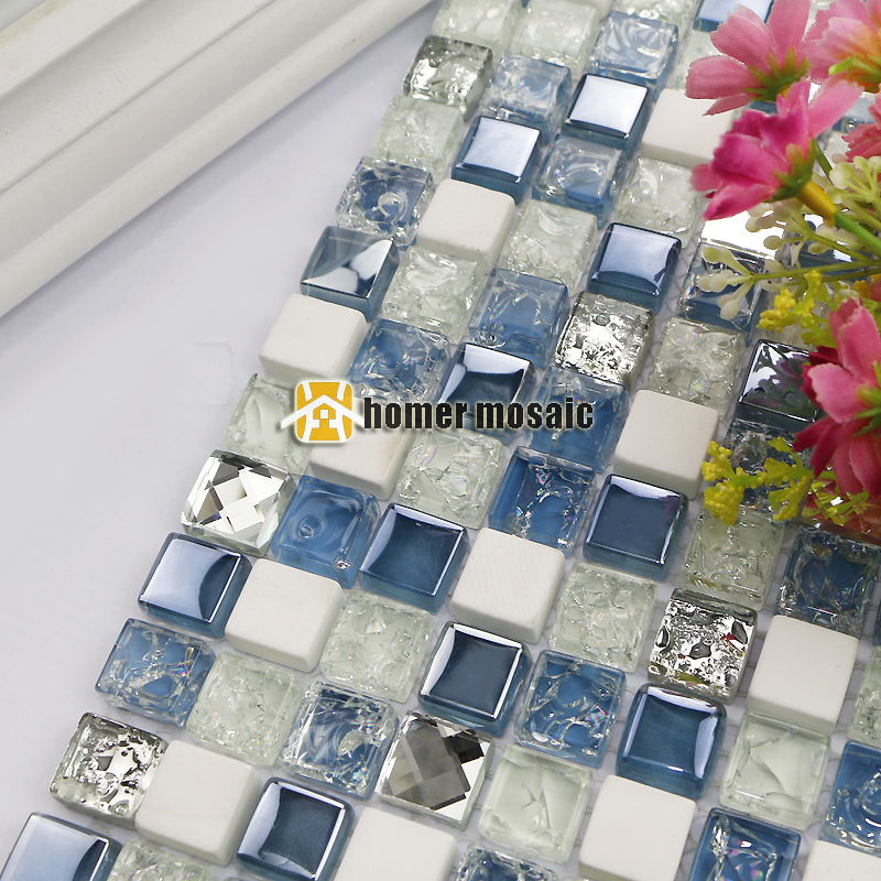 white color stone mixed diamond blue glass mosaic tiles for kitchen backsplash bathroom shower tiles fireplace mosaic HMB1263<br><br>Aliexpress