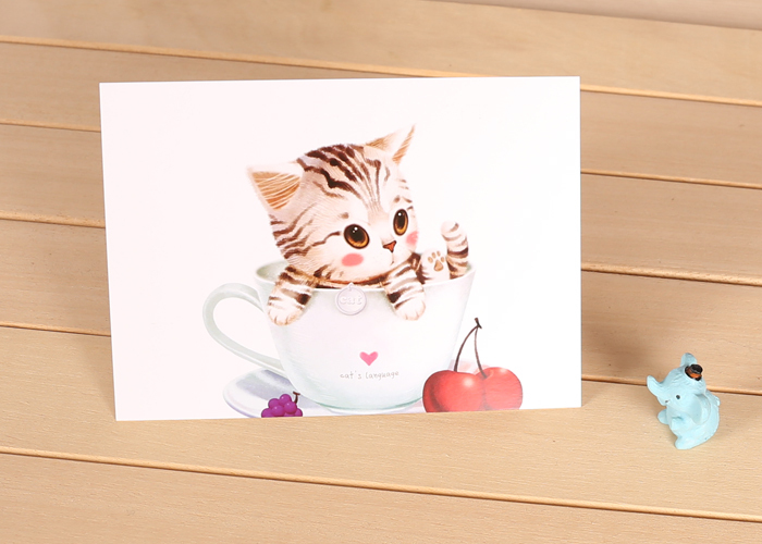 4 pcs/lot Free Shipping Cute Cat In Cup Postcard Greeting Cards Gift Thank You Note Card Christmas Postcards Y669(China (Mainland))