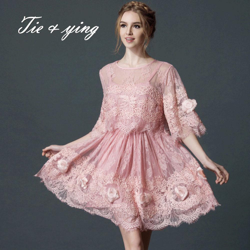 Здесь можно купить  High end loose lace emboroidered dress for women 2015summer Europe brand fashion runway vintage puls size elegant ladies dress    Одежда и аксессуары