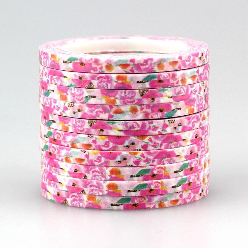 NEW 100PCS/lot 4mm*10m Floral Patterns Slim washi tape Craft Scrapbooking DIY Deco Adhesive Masking Japanese Washi Tape Paper(China (Mainland))