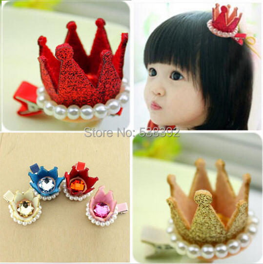 New Kids three-dimensional Resin Diamond gliter Pearls Children Accessories Girls Crown Baby Hair Accessories Kids Hair Clip(China (Mainland))