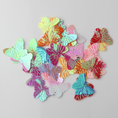 50Pcs Mix Color 22*30mm Large Butterfly Sequins with 2 holes Paillette Sewing glitter stickers in children serioms&Clothing(China (Mainland))