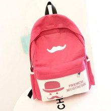 Guaranteed 100% Yiwu french mustache backpack 2015 women canvas backpacks girl ladycartoon printing backpack vintage(China (Mainland))