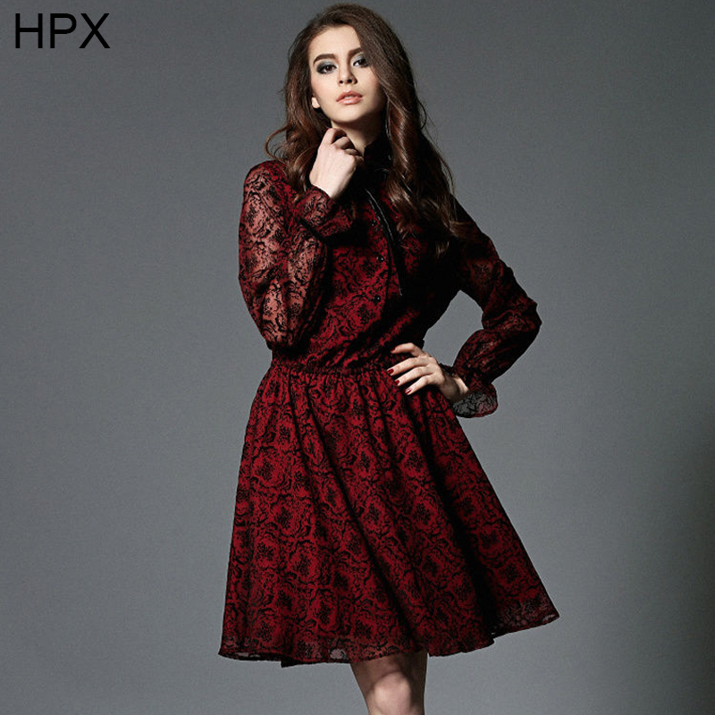 Stand Collar Dress Designs : Women red apricot long sleeve stand collar flocking