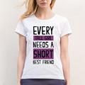 Short Tall Girl Best Friend Women T Shirt Casual Fitness Harajuku Short Sleeve Female Tshirt Cotton