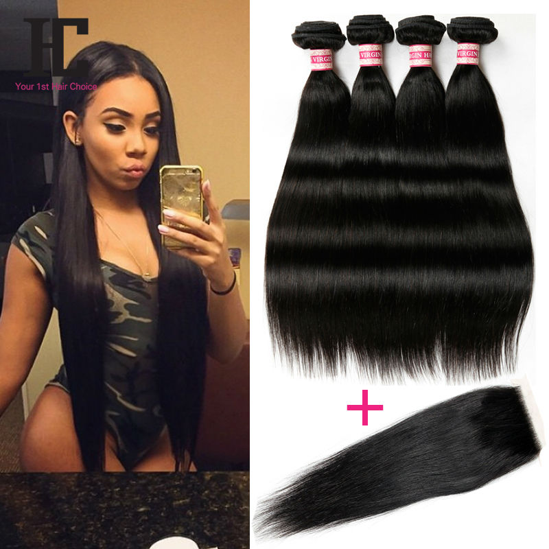 8A Brazilian Straight Hair With Closure Queen Hair Products With Closure Bundle Brazilian Virgin Hair 4 Bundles With Closure HC