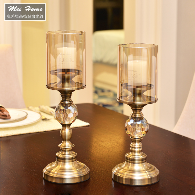Table Home Decorations Furnishing Crystal Candle Holder Crafts Home Decoration Metal Candlestick with Free Candle(China (Mainland))