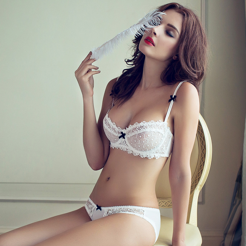 fashion summer sexy lace white ultra-thin bra breathable gauze deep V-neck womens push up underwear setОдежда и ак�е��уары<br><br><br>Aliexpress