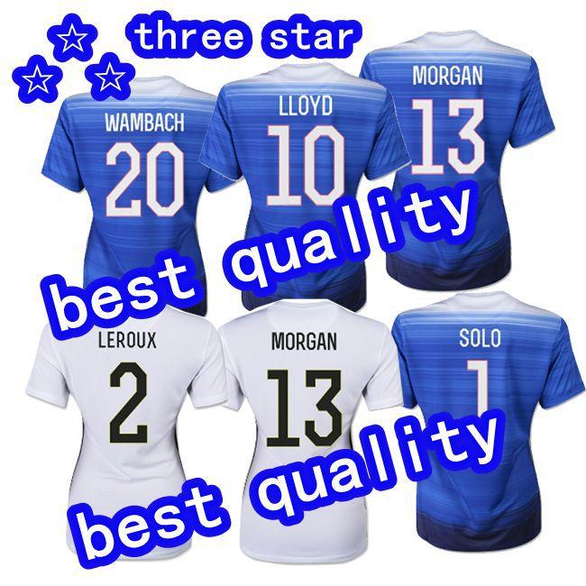 15 16 Women USA Three Star Soccer Jerseys Away LLOYD KRIEGER MORGAN O'HARA O'REILLY WAMBACH USA 2015 World Cup Soccer Shirt 2015(China (Mainland))