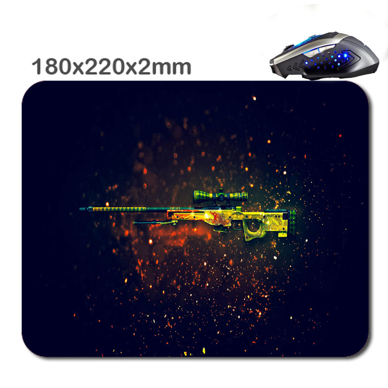 Game Is Gun Series Hd CS Rectangle Non - Slip Rubber 3D HD Printing Gaming Rubber Durable Notebook Mousepad 220X180x2mm As Gif(China (Mainland))