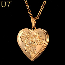 Rose Flower Floating Locket Heart Pendant For Women High Quality 18K Real Gold Plated Choker Necklaces & Pendants Wholesale P326