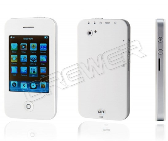 "New 2.8"" 32GB Touch Screen I9 4G Style Mp4 MP5 Player with Camera Game Video White Color Free Ship(China (Mainland))"