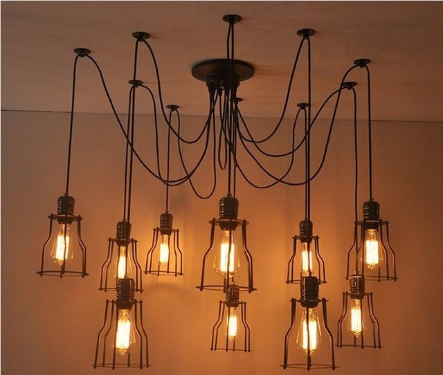 Vintage Chandeliers Lamp Metal 10 Pendant Lampshade