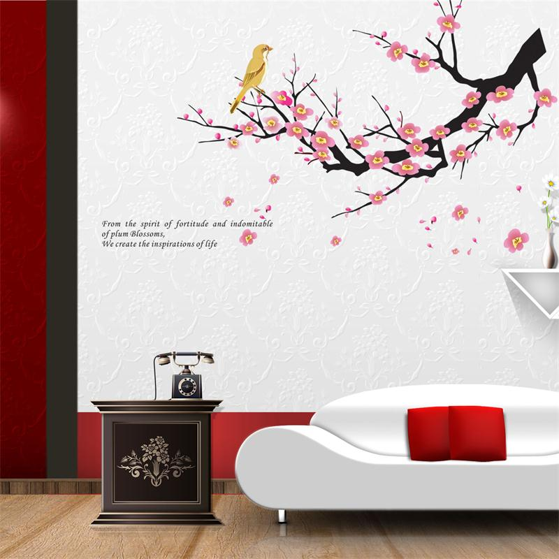 classical pink Plum flower flora home decal wall stickers warm quote sticker mural art wedding decoration TV wall decal(China (Mainland))