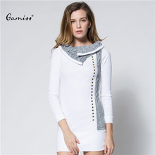 Knitted Sweater pullovers Women Turn-Down Collar Sport Winter Pullover Rivet Embellished Long Sleeve Women White Shirt 1567528(China (Mainland))