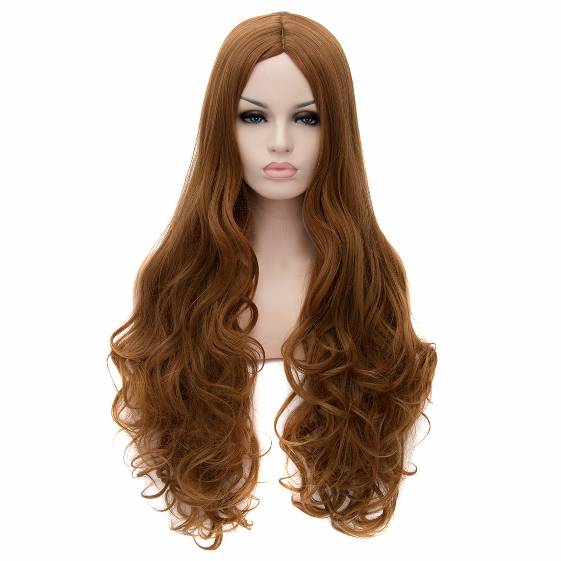 Brown Central Parting Big Wavy Curly Long Hairstyle Women Resistant Full Wigs<br><br>Aliexpress