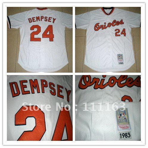 Free Shipping-Baltimore Orioles Dempsey 24# White Throwback Baseball Jersey size:48~56+Mix Order