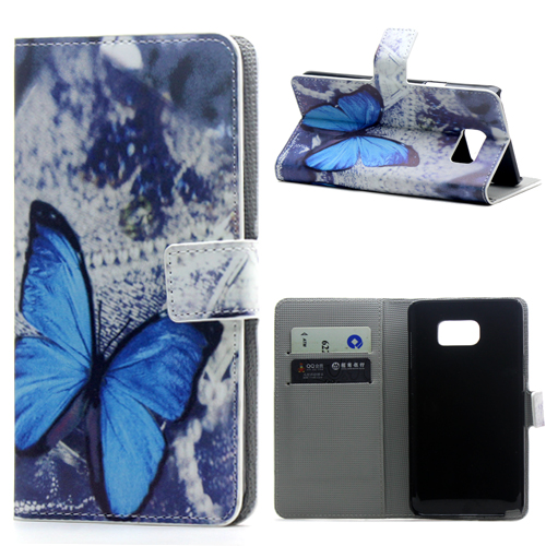Blue Butterfly PU Leather Credit Card Wallet Flip Cover Case Samsung Galaxy Note 5 Note5 N9200 N9208 N9209 Phone Bags Cases - Yuanwang digital accessories store